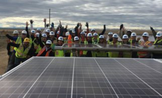 Denver Housing Authority community solar project volunteers.